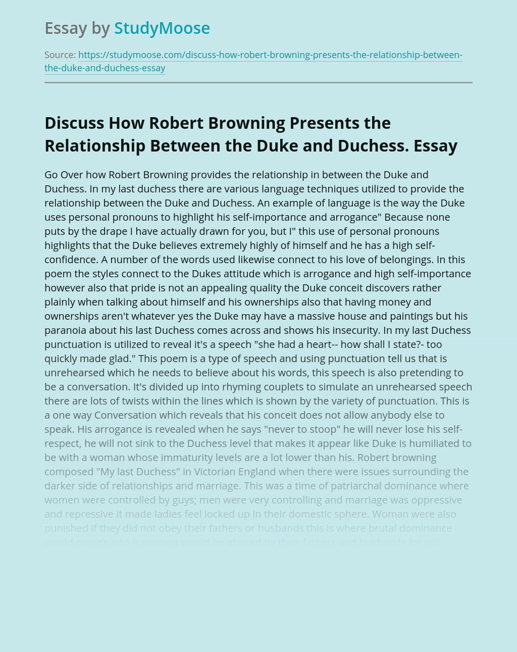 Discuss How Robert Browning Presents the Relationship Between the Duke and Duchess.