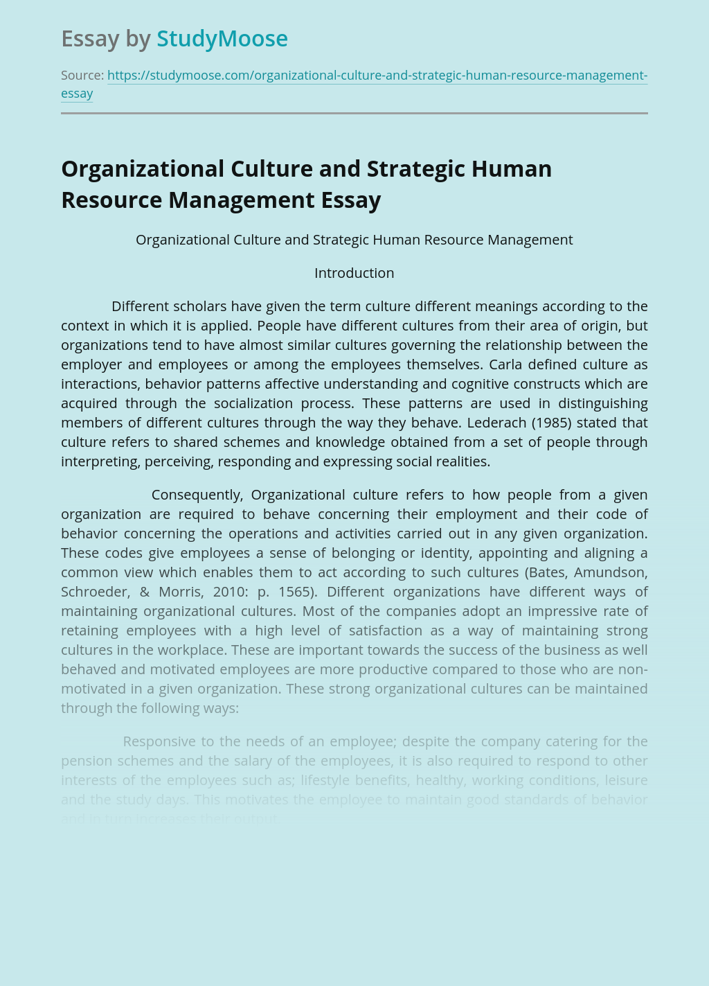 Organizational Culture and Strategic Human Resource Management