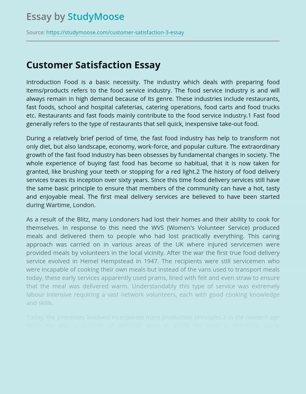 Facts about Customer Satisfaction