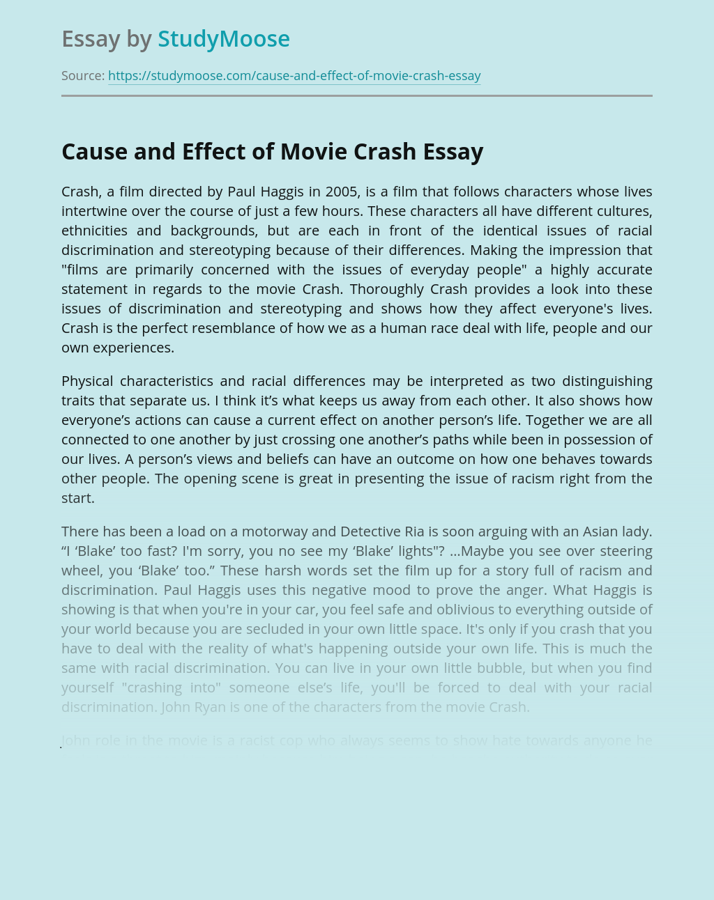 Cause and Effect of Movie Crash