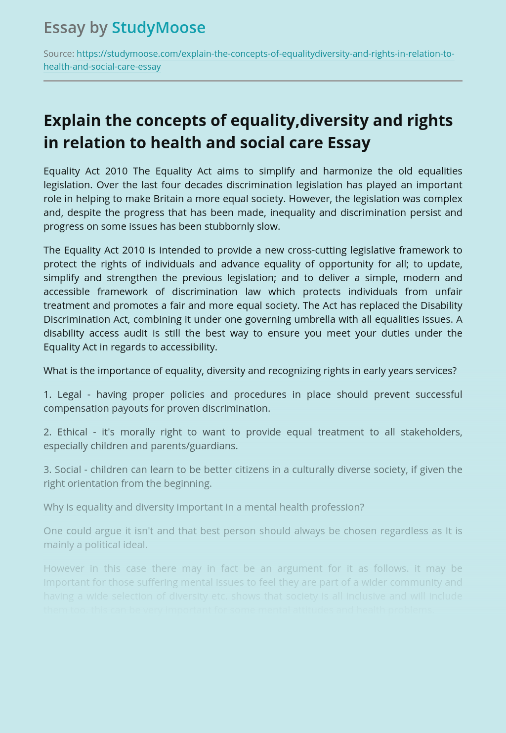 Explain the concepts of equality,diversity and rights in relation to health and social care