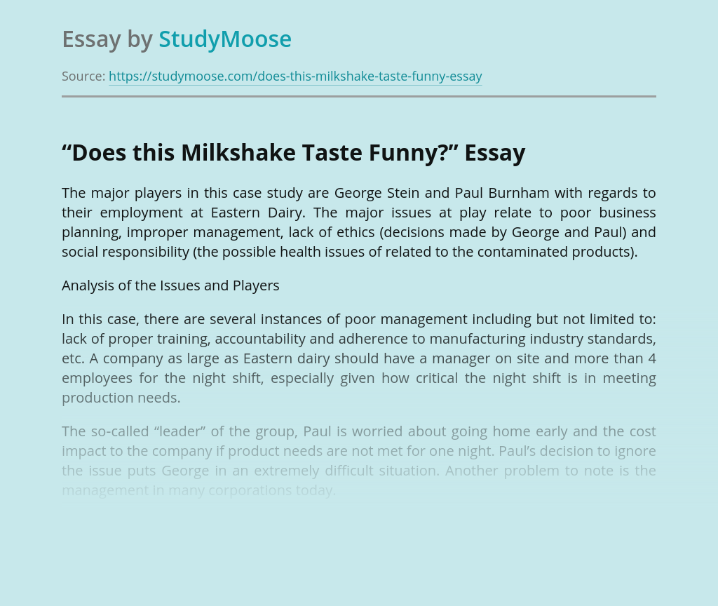 """Does this Milkshake Taste Funny?"""