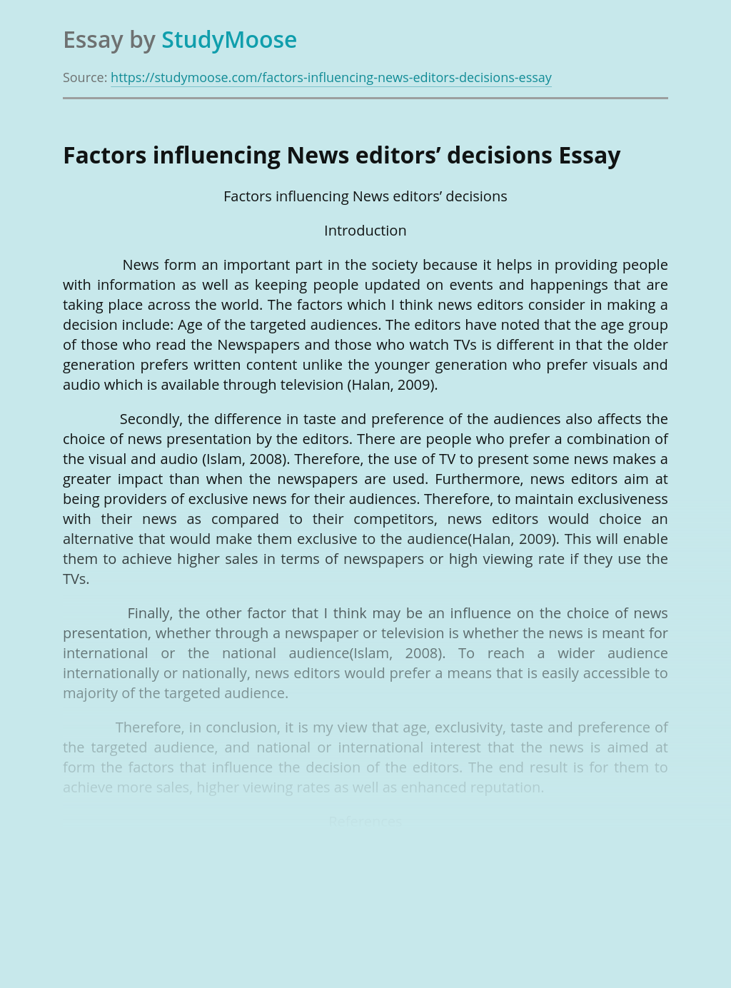 Factors influencing News editors' decisions