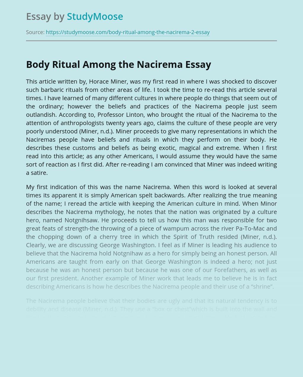 Human Issues in Body Ritual Among the Nacirema