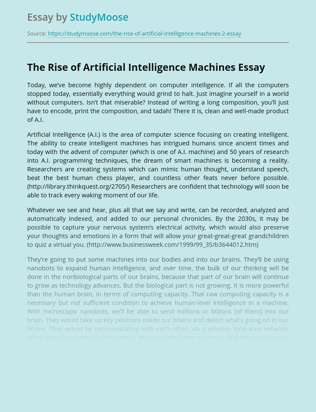 The Rise of Artificial Intelligence Machines