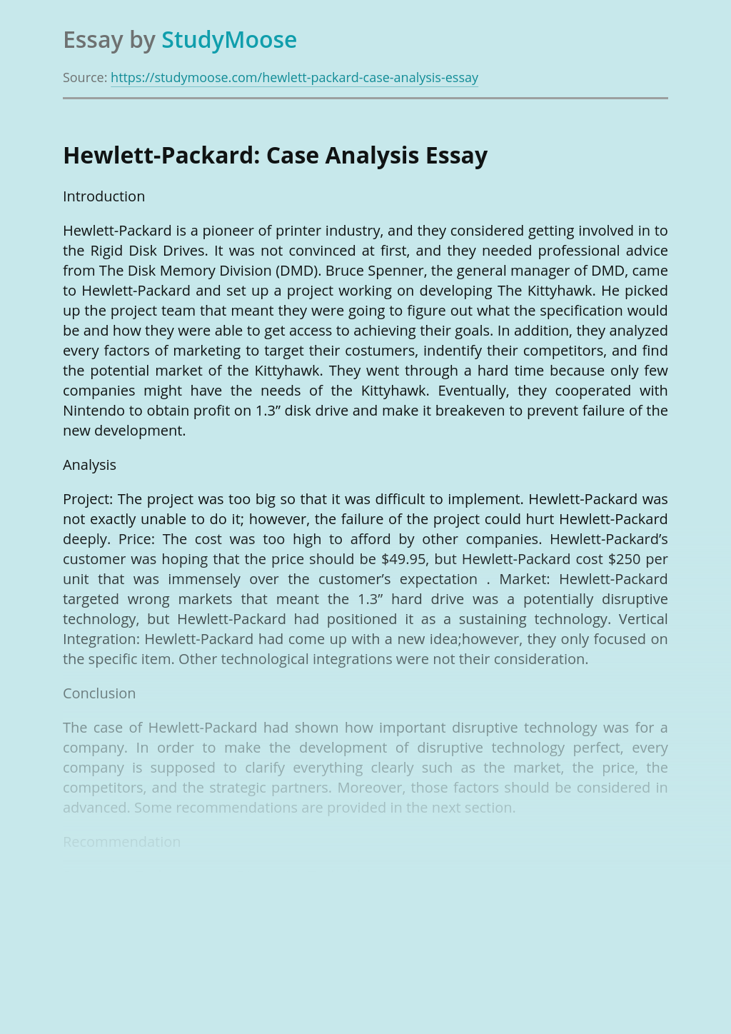 Hewlett-Packard: Case Analysis
