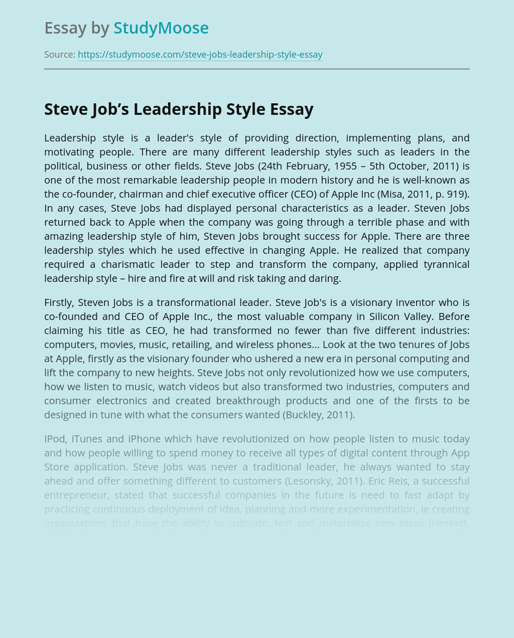 Steve Job's Leadership Style