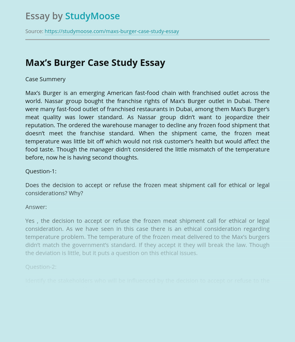 Max's Burger Case Study