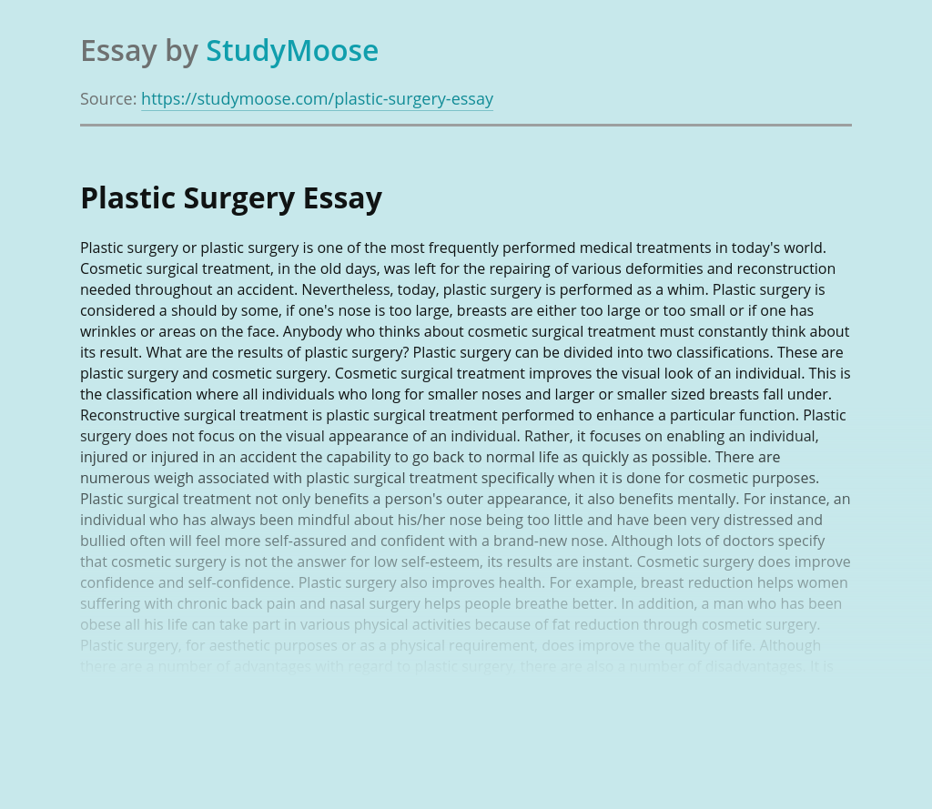 Plastic Surgery: Pros and Cons