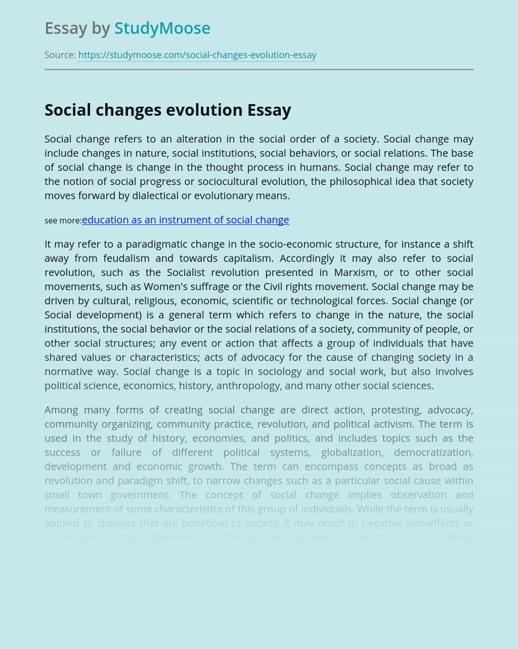 Social Changes Evolution