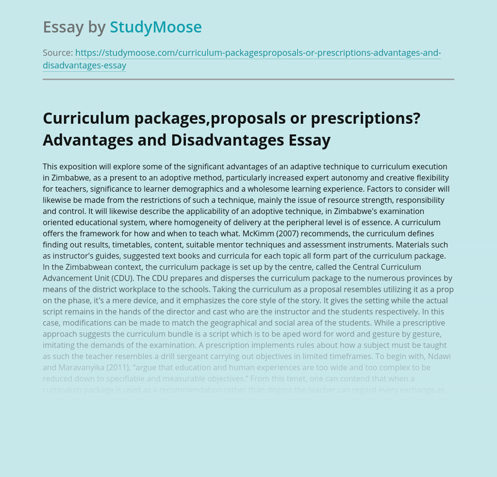 Curriculum packages,proposals or prescriptions? Advantages and Disadvantages