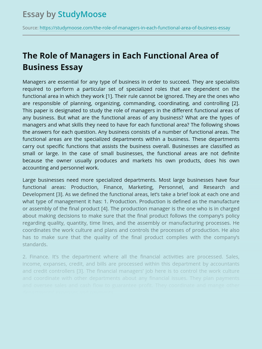The Role of Managers in Each Functional Area of Business