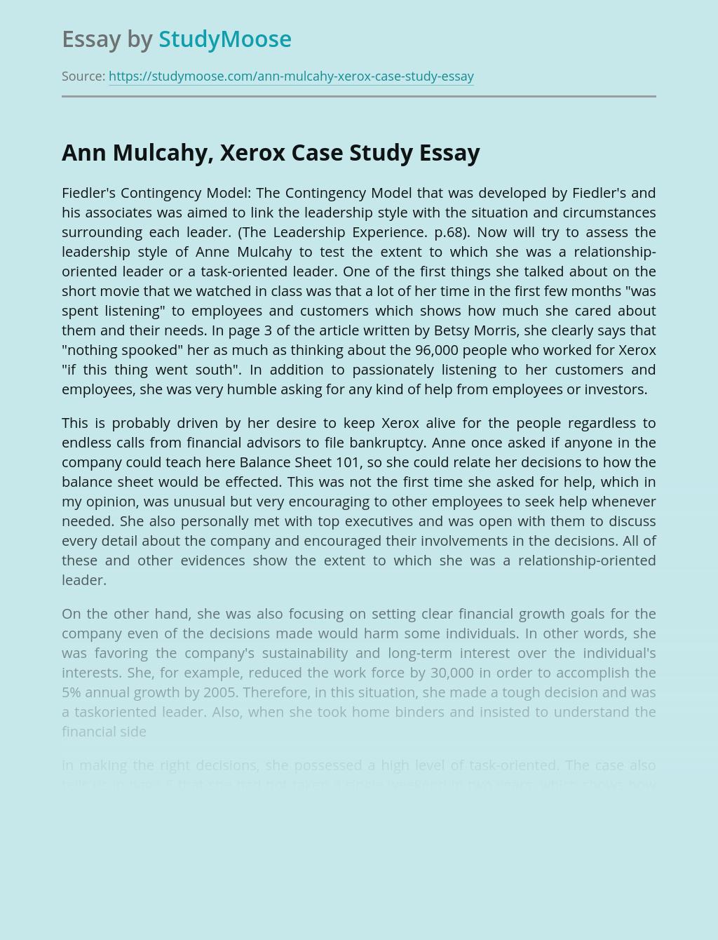 Ann Mulcahy, Xerox Case Study