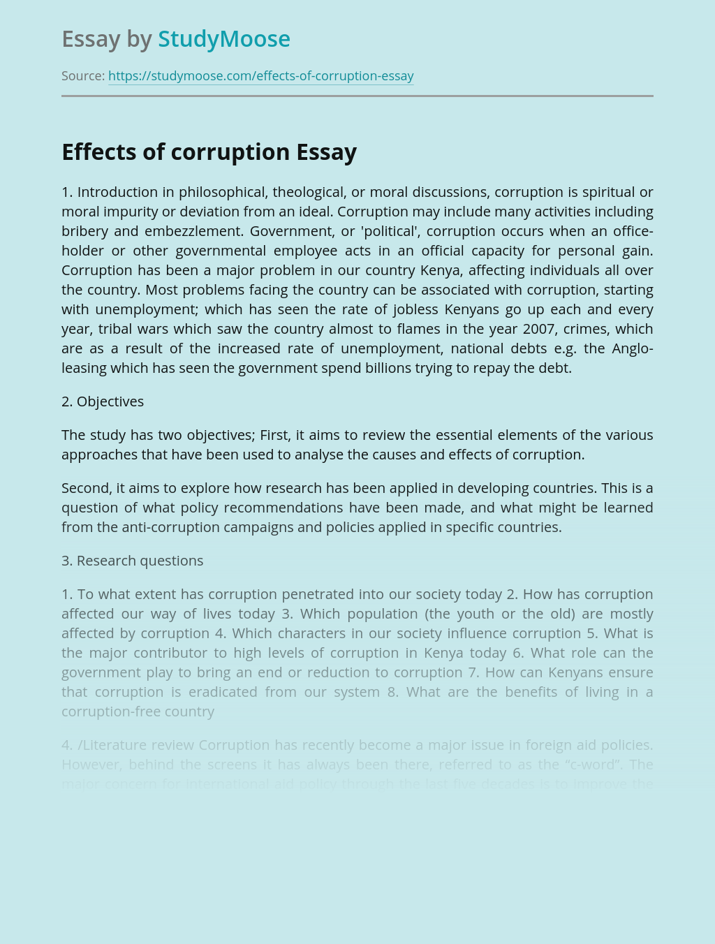 Effects of corruption