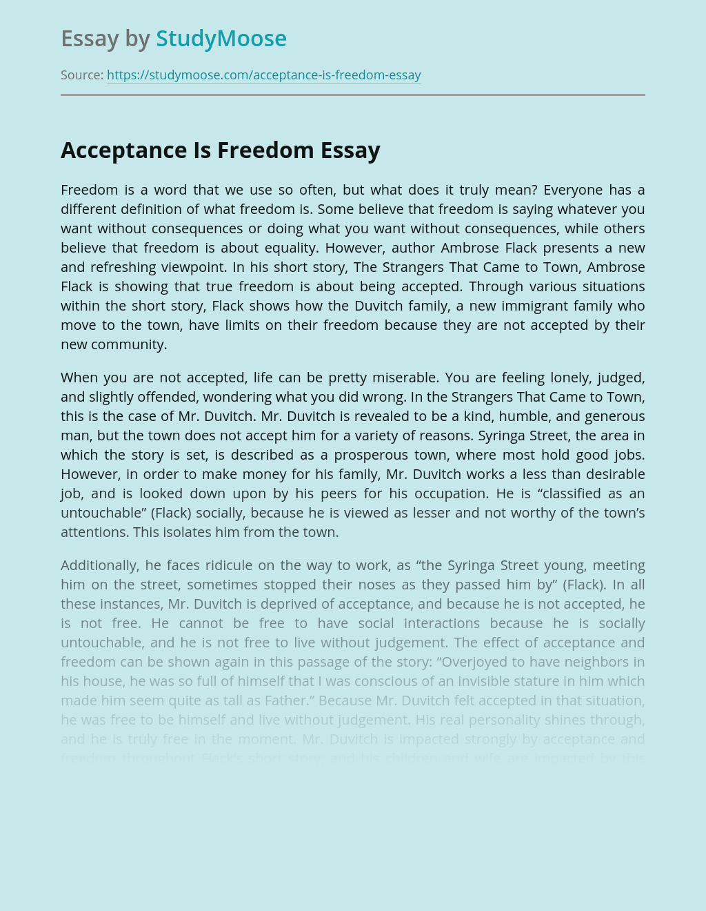 Acceptance Is Freedom