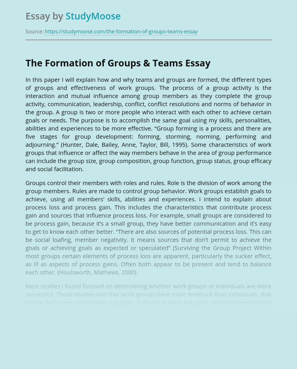 The Formation of Groups & Teams
