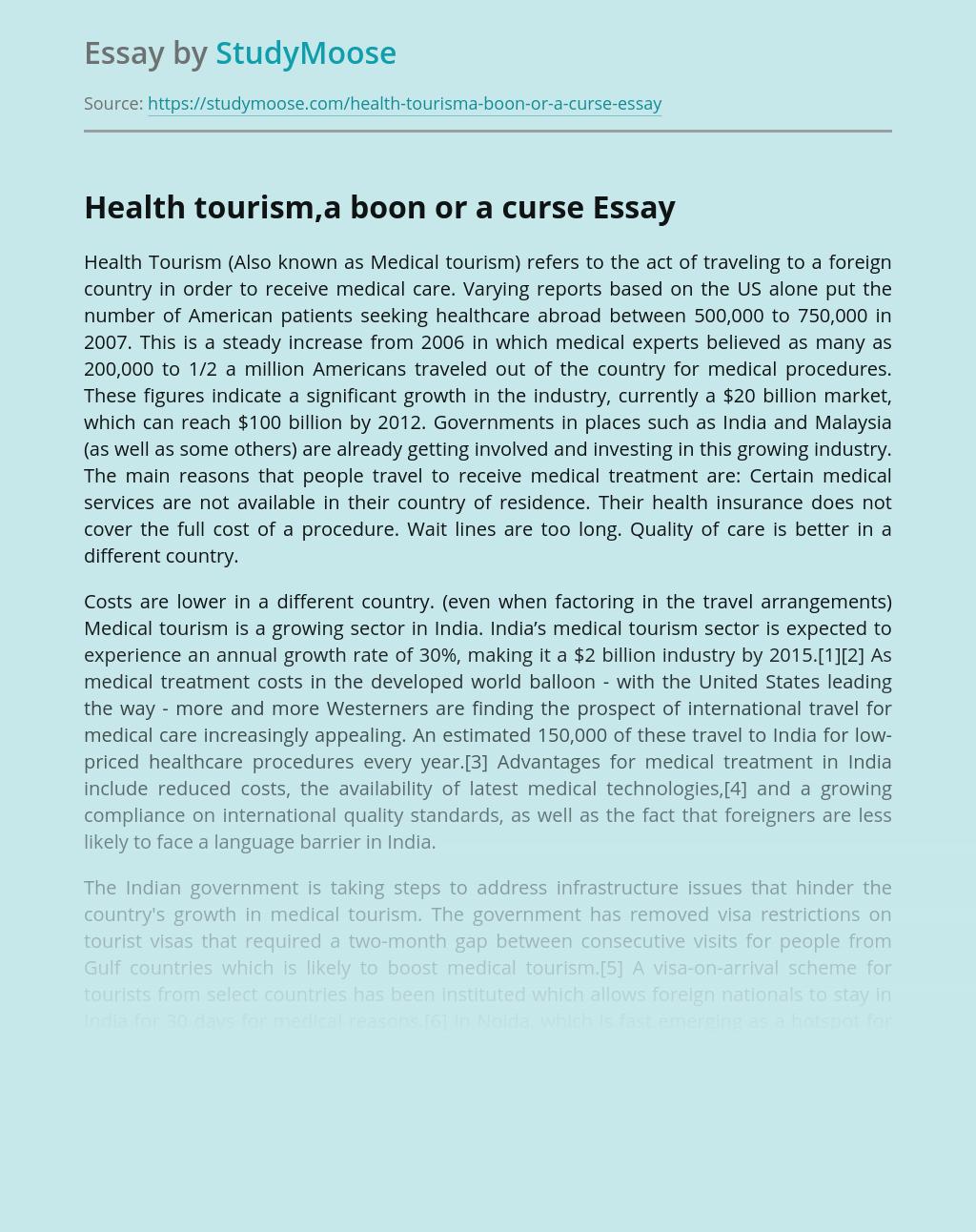 Health tourism,a boon or a curse