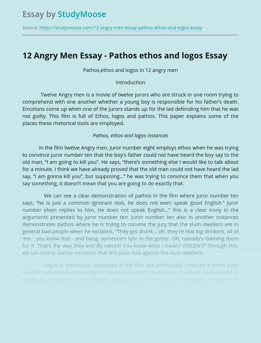 12 Angry Men Essay - Pathos ethos and logos