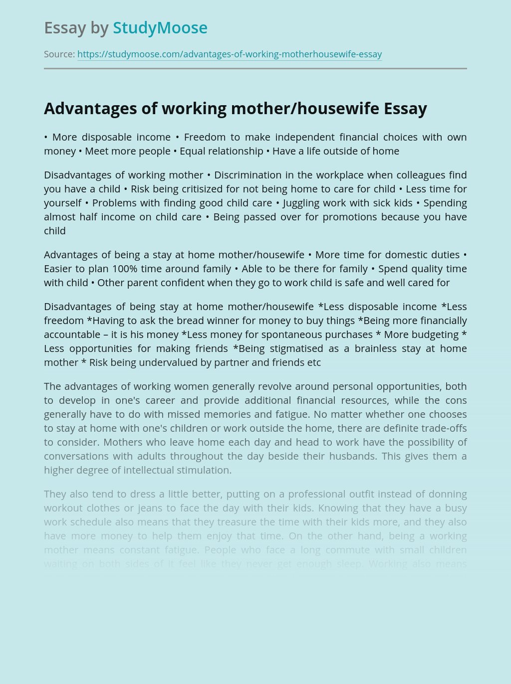 Advantages of working mother/housewife