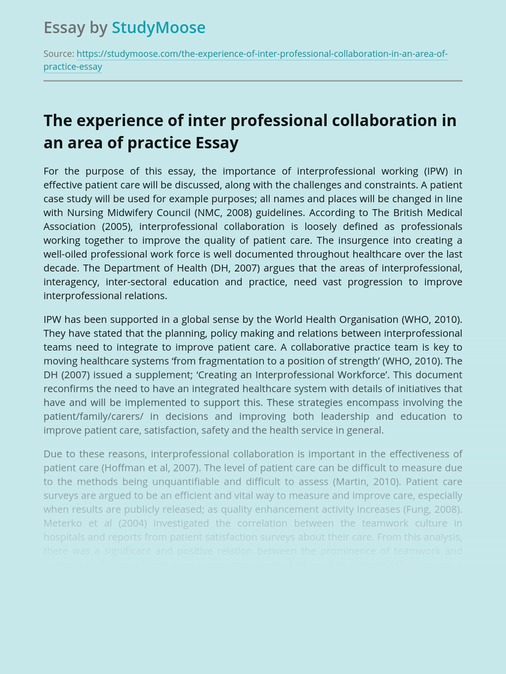 The experience of inter professional collaboration in an area of practice