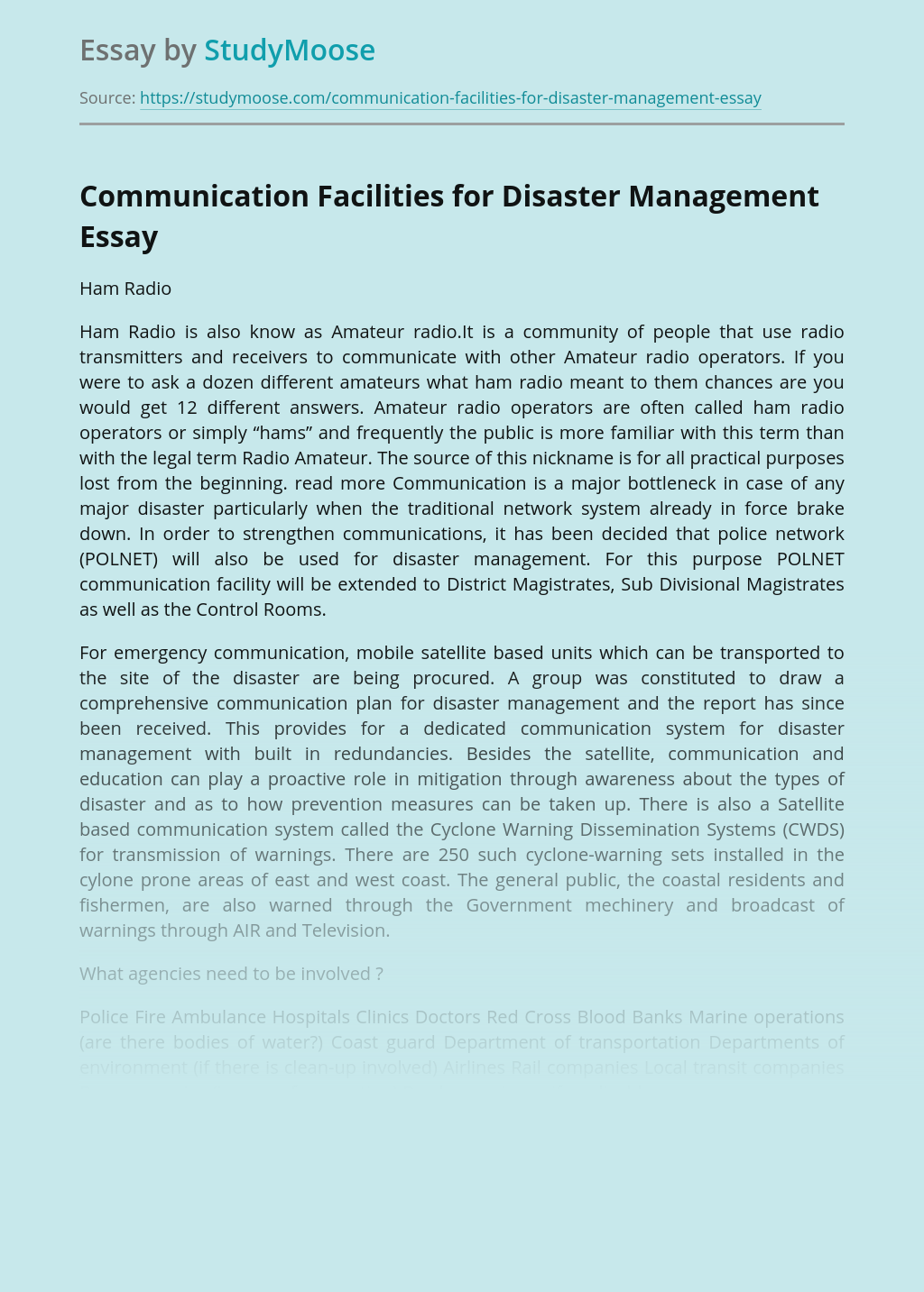 Communication Facilities for Disaster Management