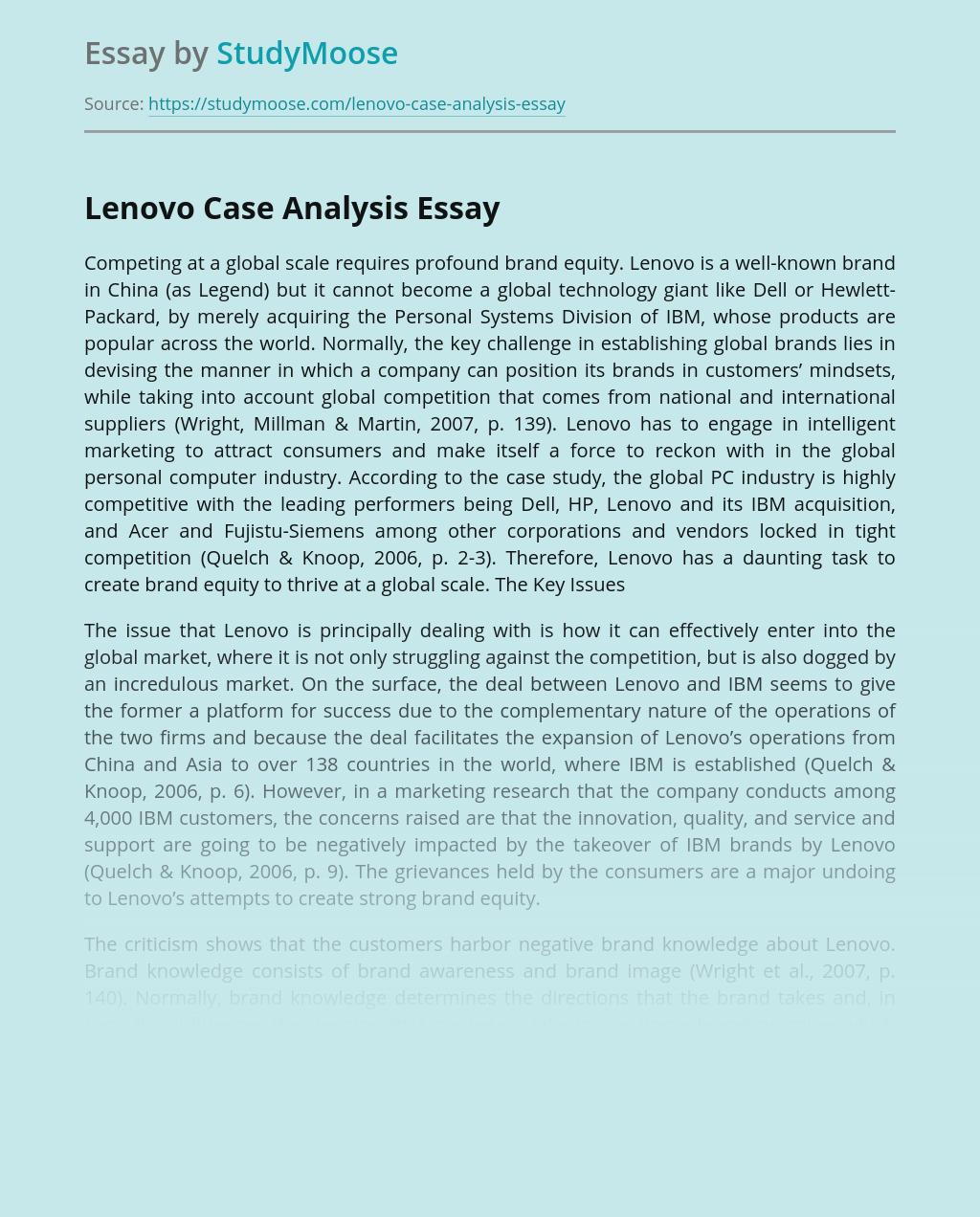 Lenovo Case Analysis