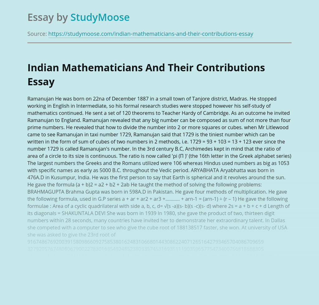 Indian Mathematicians And Their Contributions
