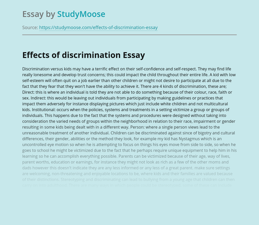 Effects of discrimination