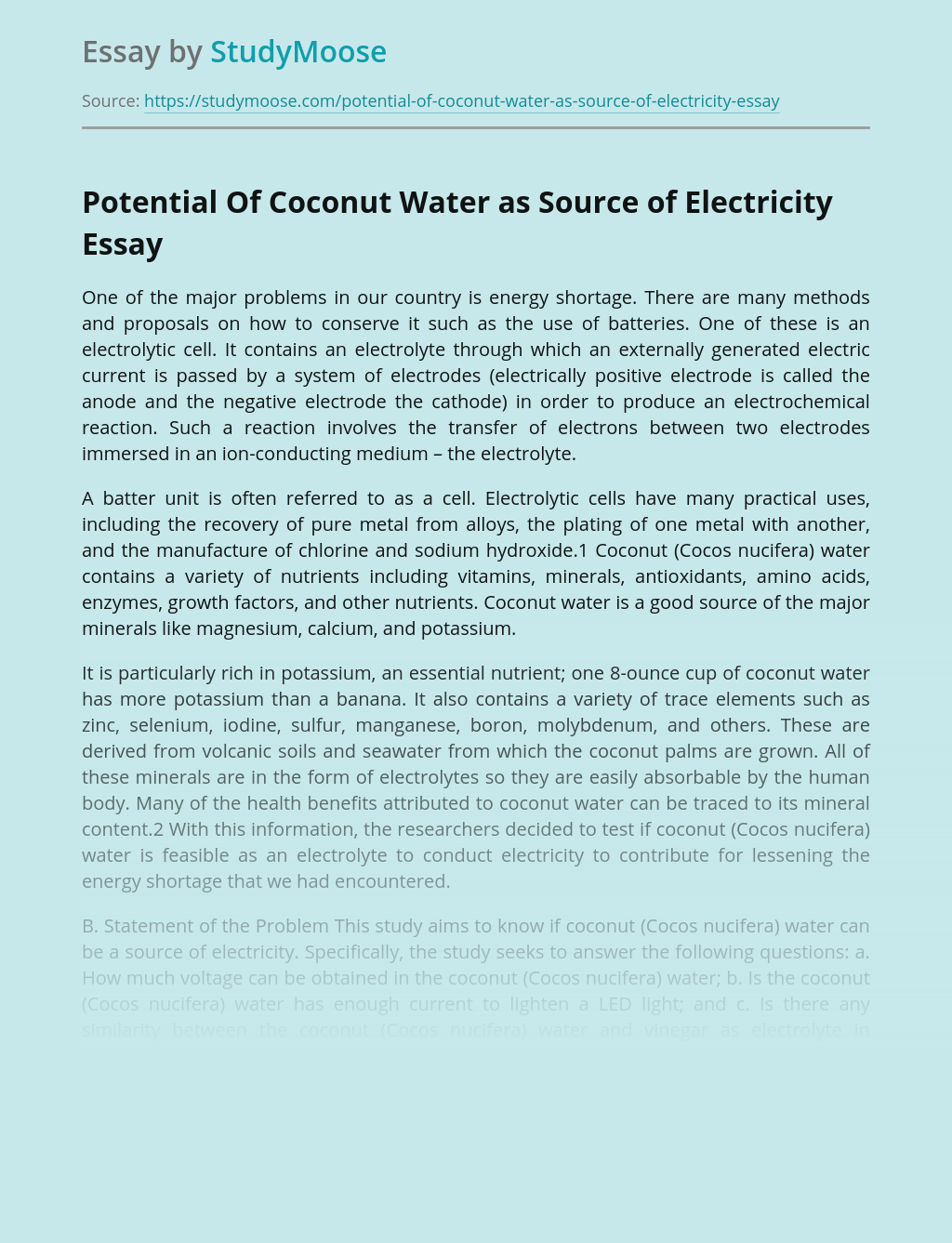 Potential Of Coconut Water as Source of Electricity