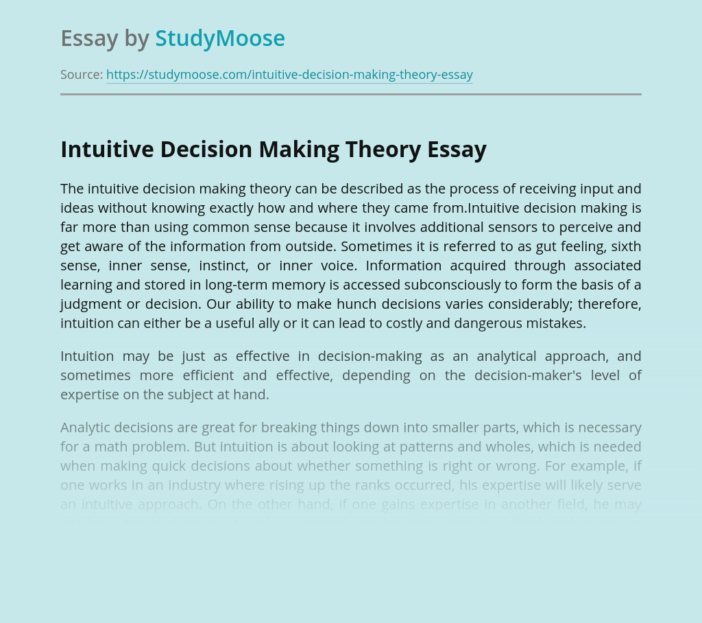 Intuitive Decision Making Theory
