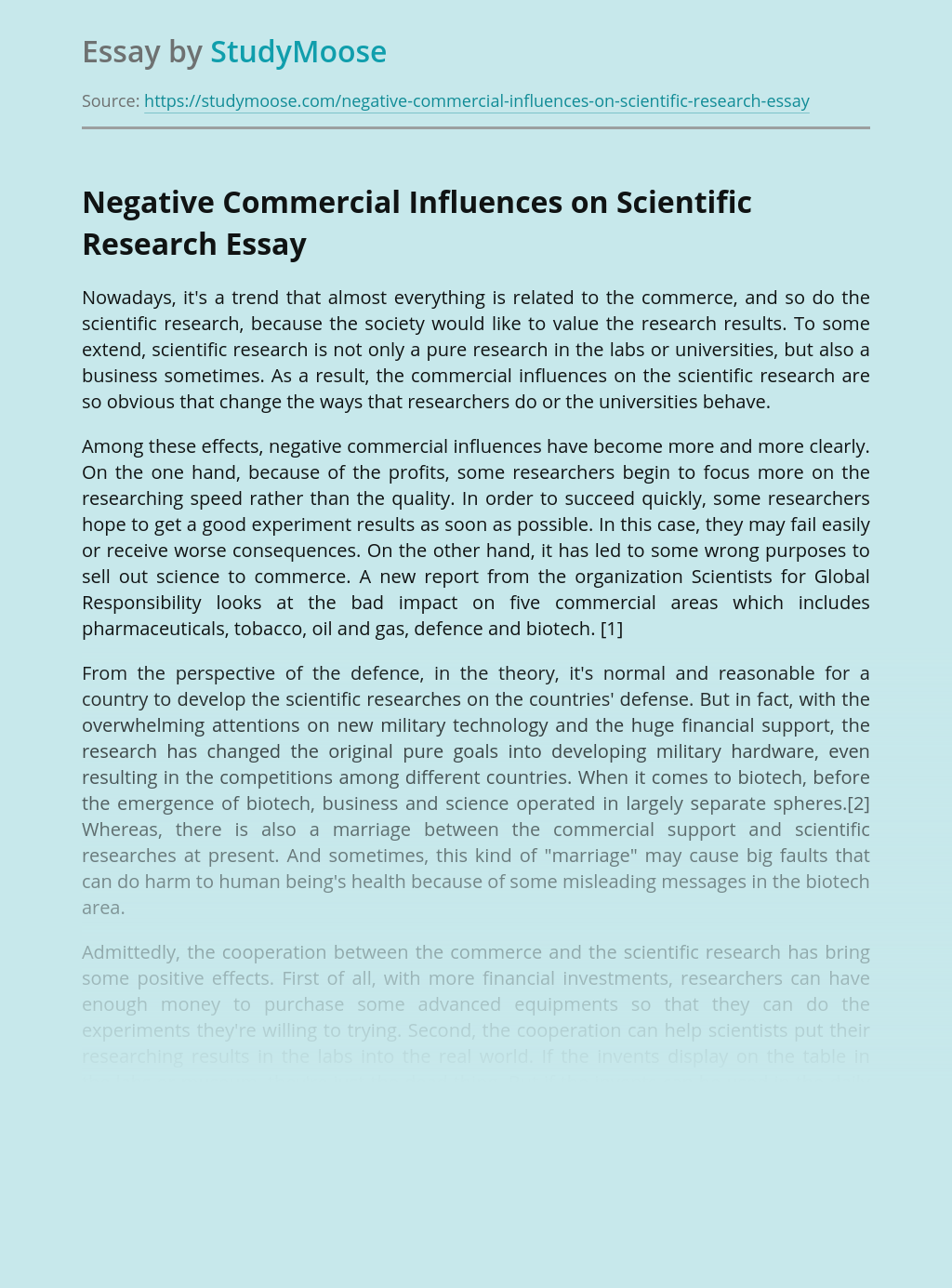 Negative Commercial Influences on Scientific Research