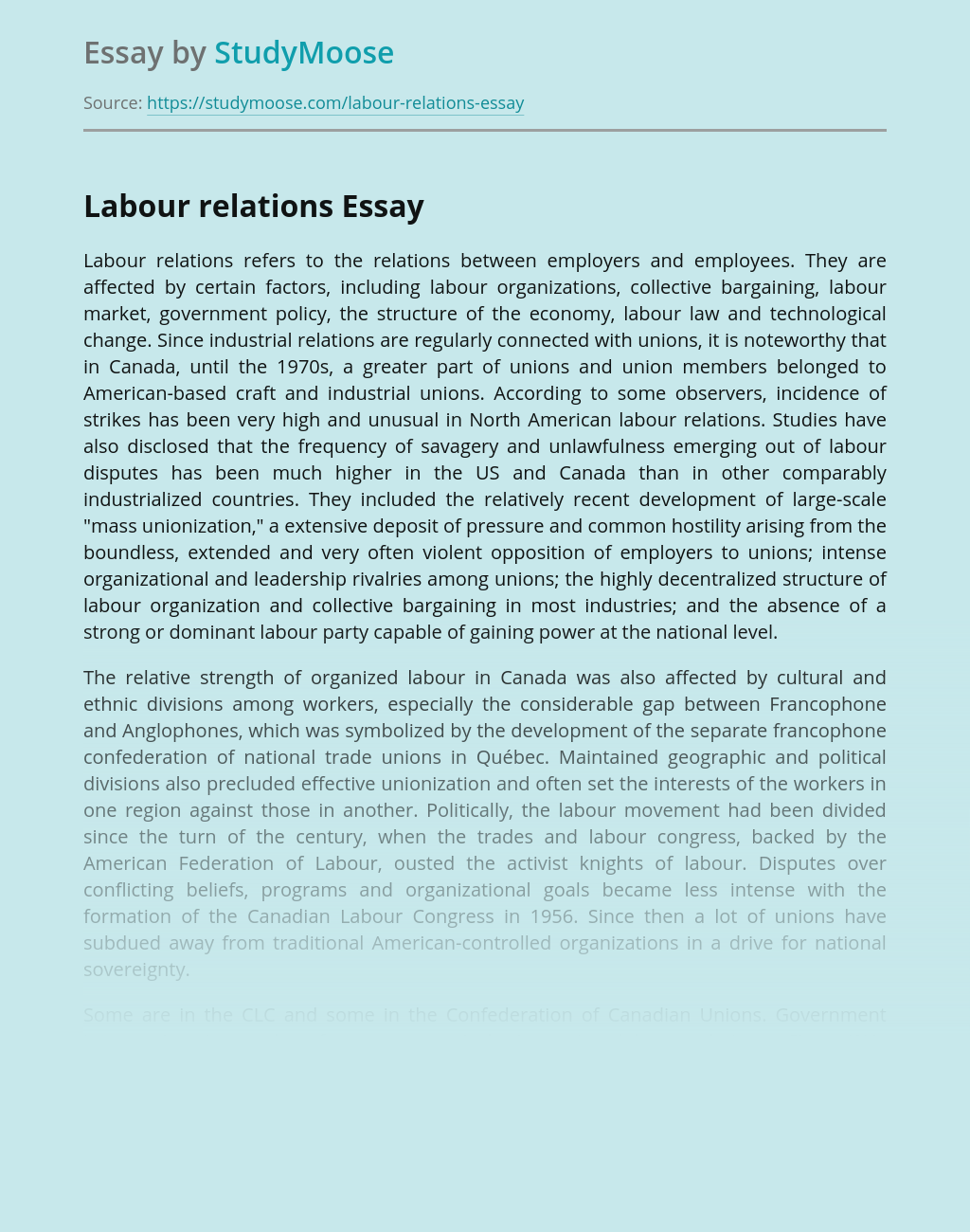 ?Labour relations