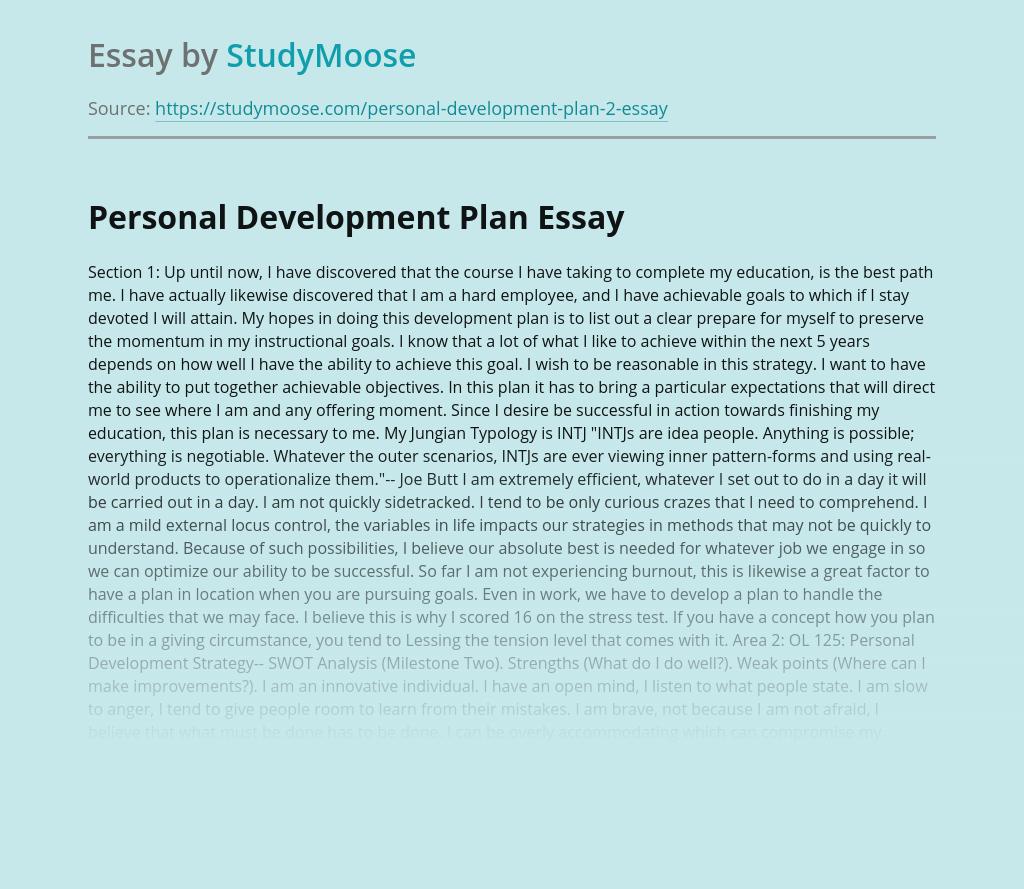 My Educational Personal Development Plan