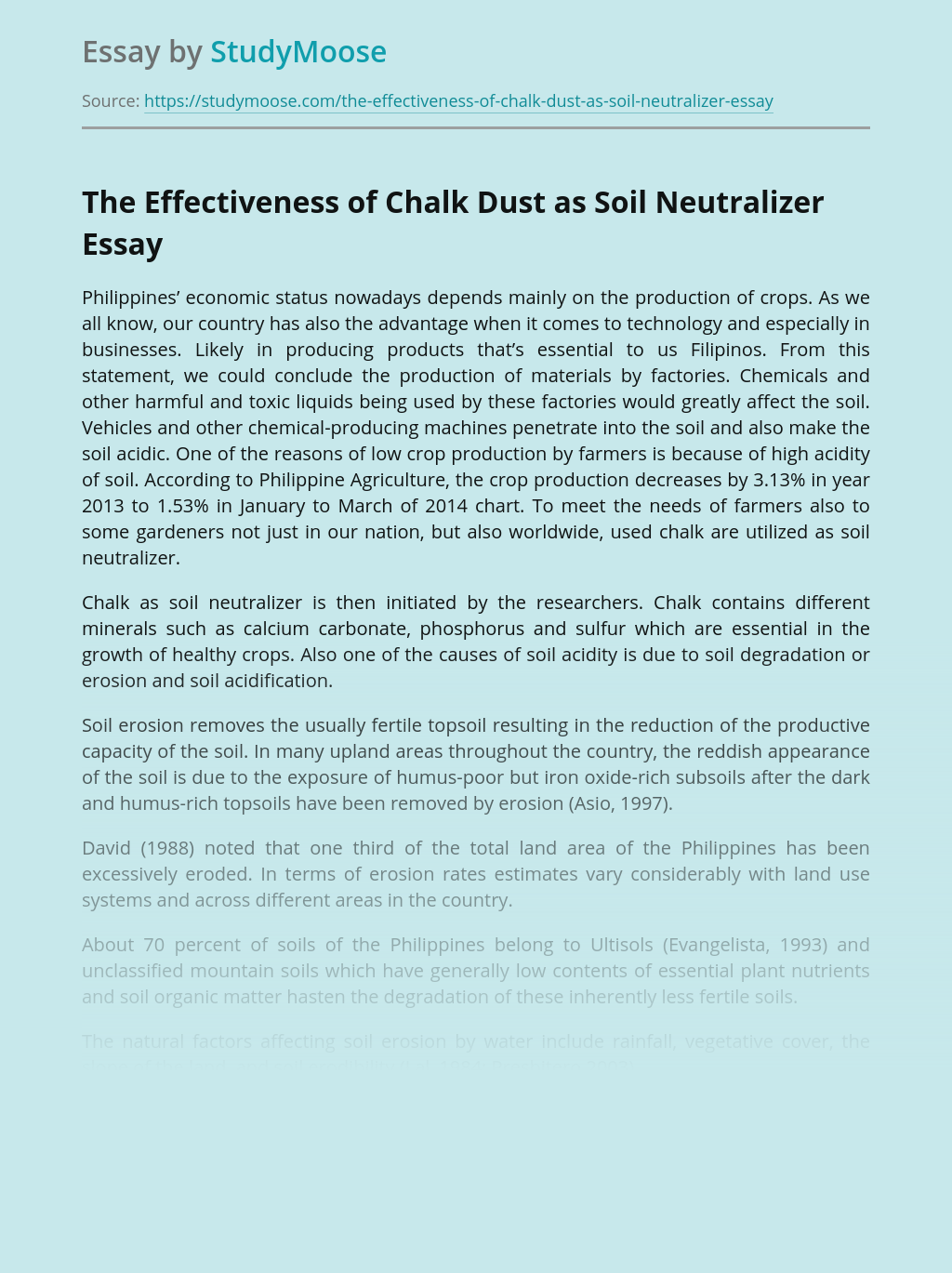 Chalk Dust as Soil Neutralizer in Agriculture