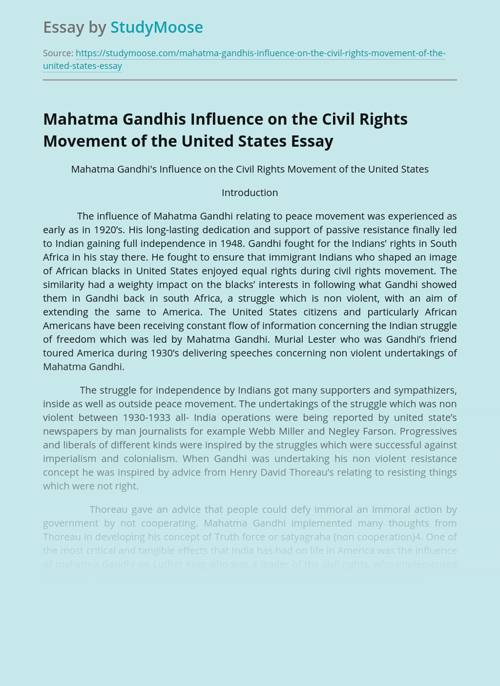 Mahatma Gandhis Influence on the Civil Rights Movement of the United States