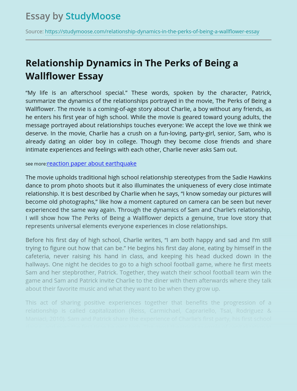 Relationship Dynamics in The Perks of Being a Wallflower