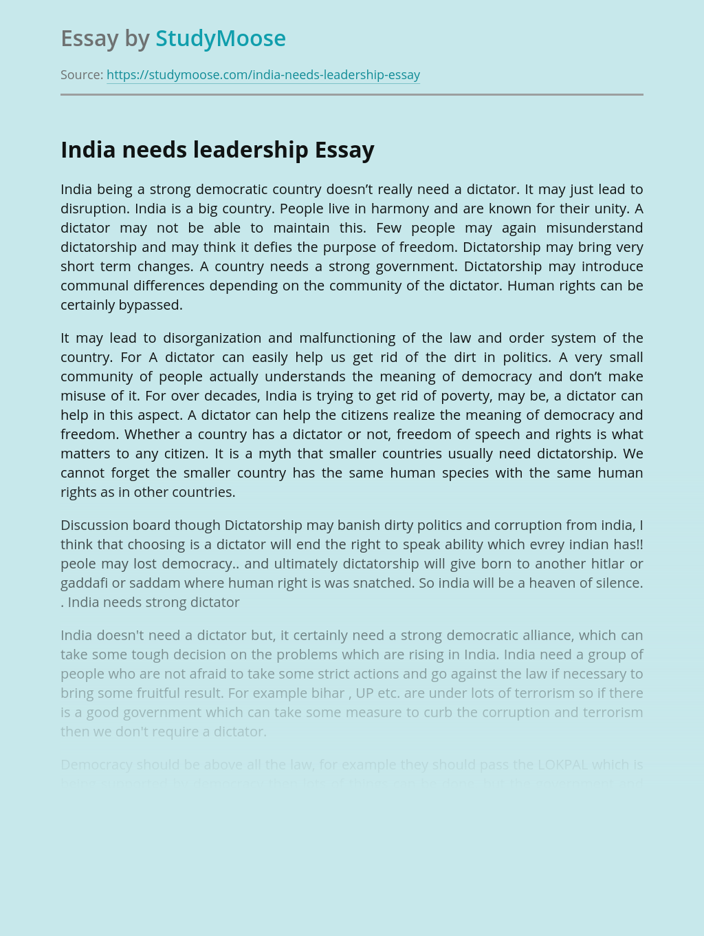 India needs leadership