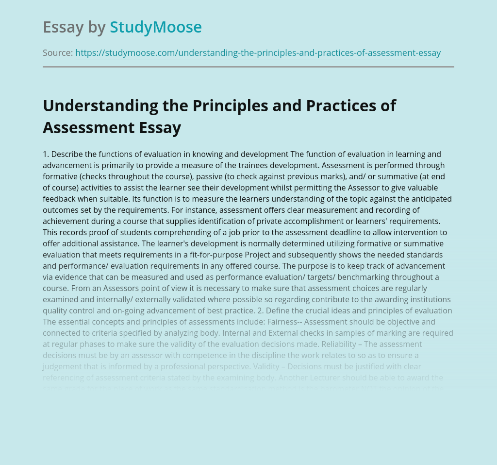 Principles and Practices of Assessment in Teaching