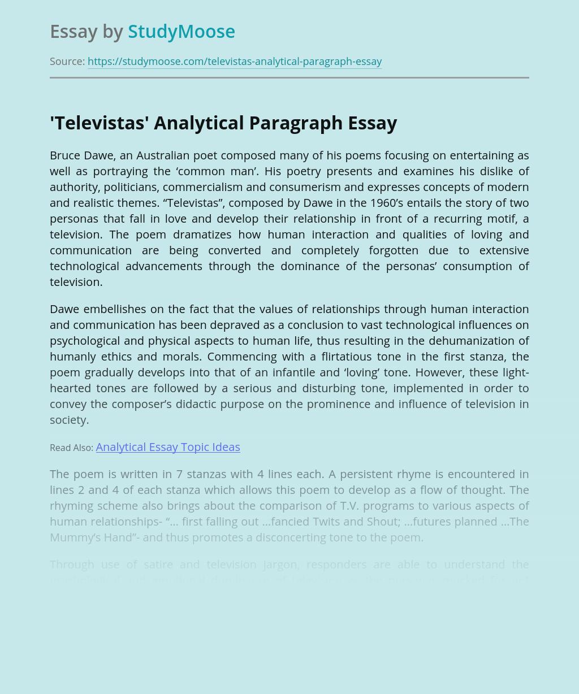 'Televistas' Analytical Paragraph
