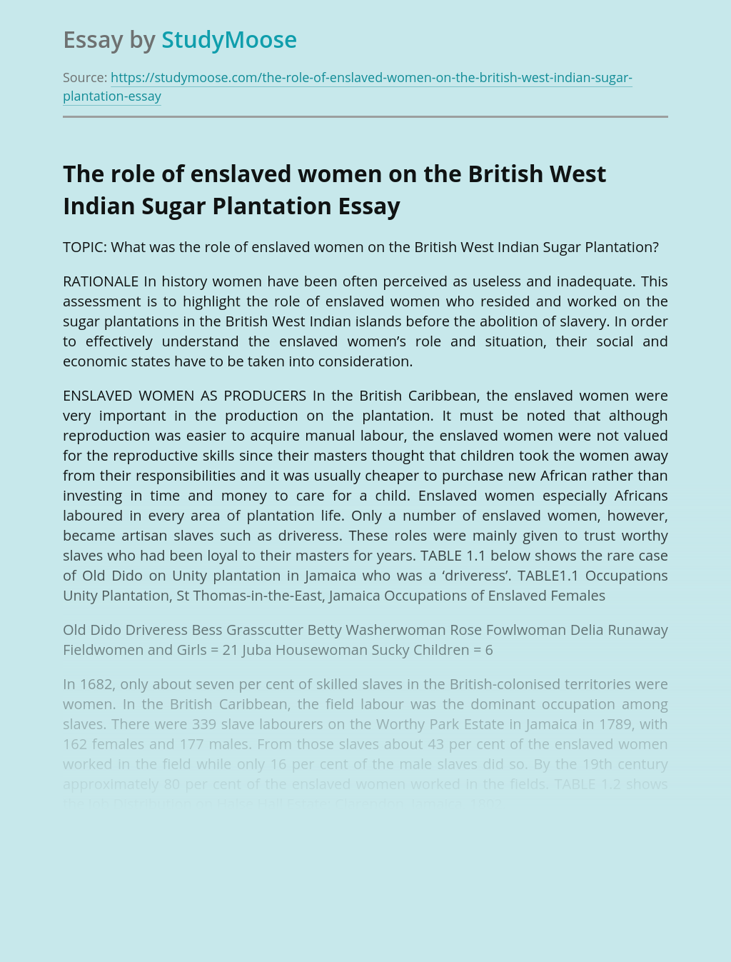 The role of enslaved women on the British West Indian Sugar Plantation