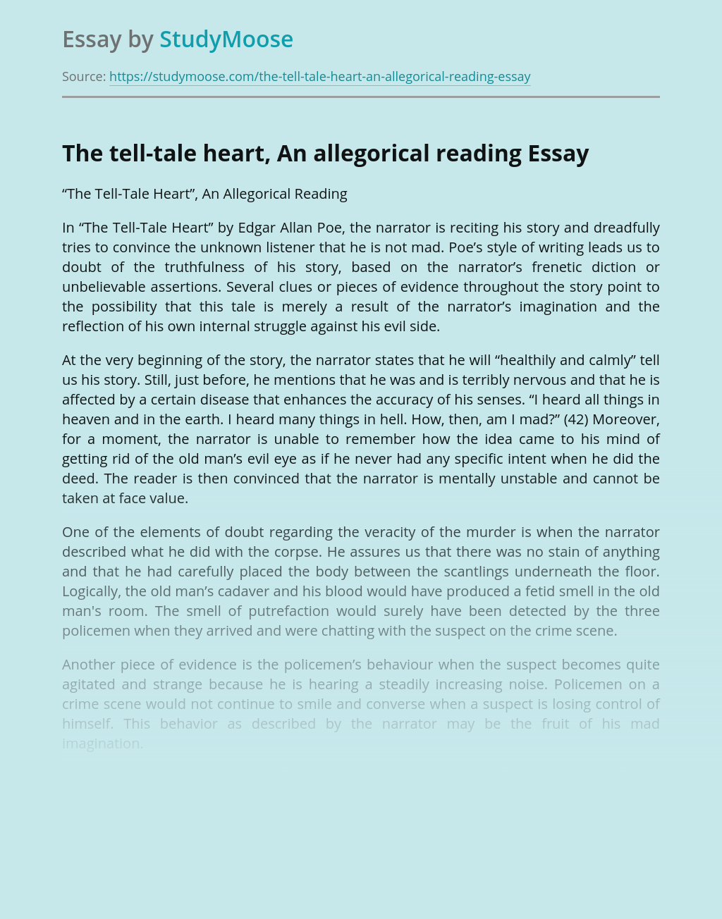 The tell-tale heart, An allegorical reading