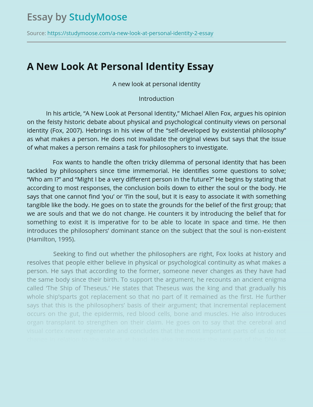 A New Look At Personal Identity