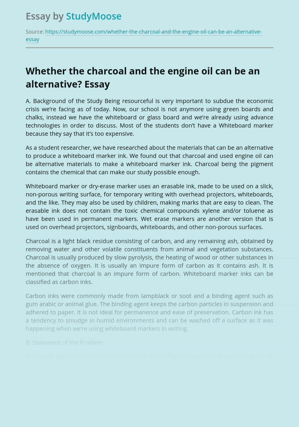 Whether the charcoal and the engine oil can be an alternative?