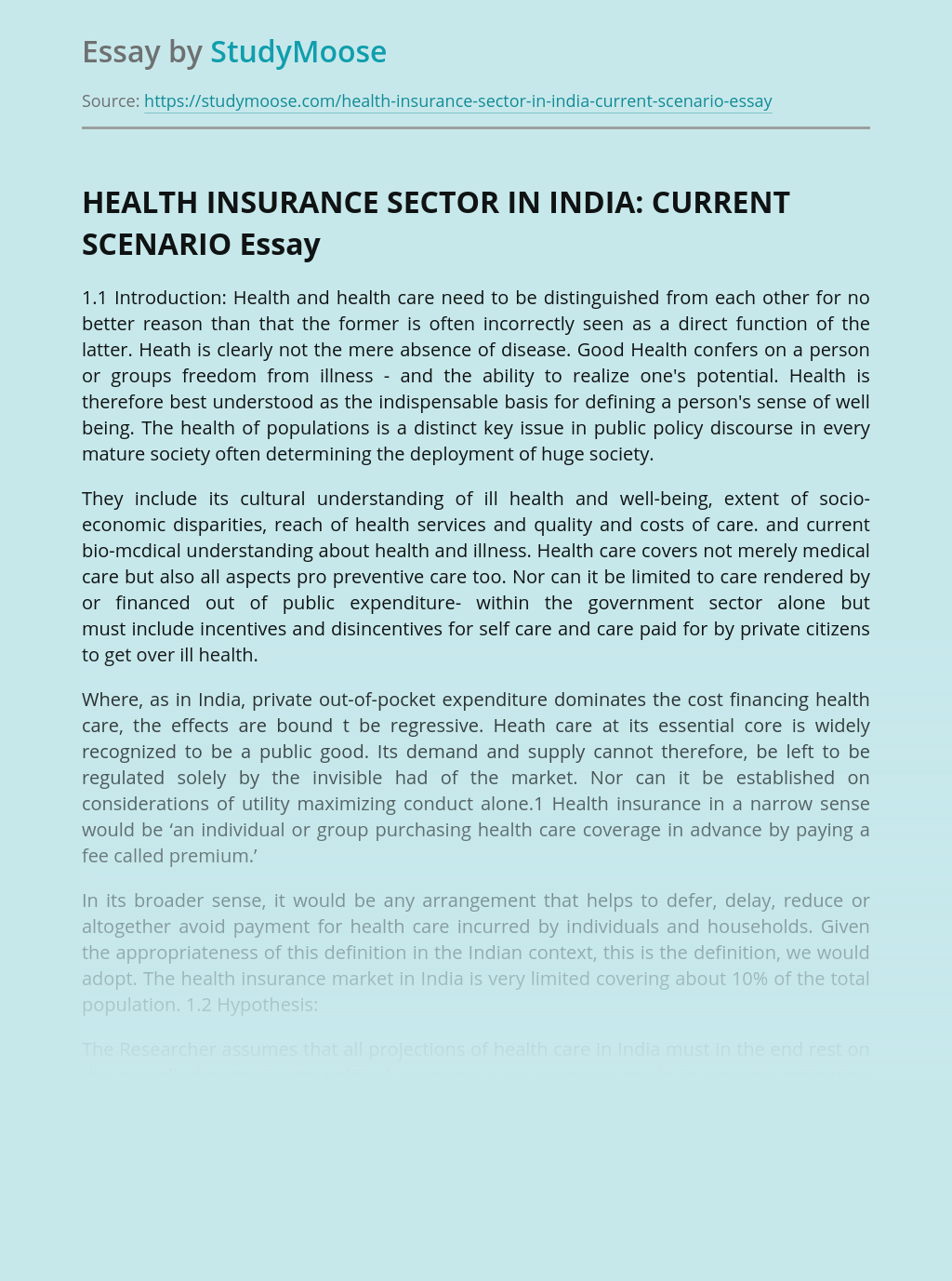 HEALTH INSURANCE SECTOR IN INDIA: CURRENT SCENARIO