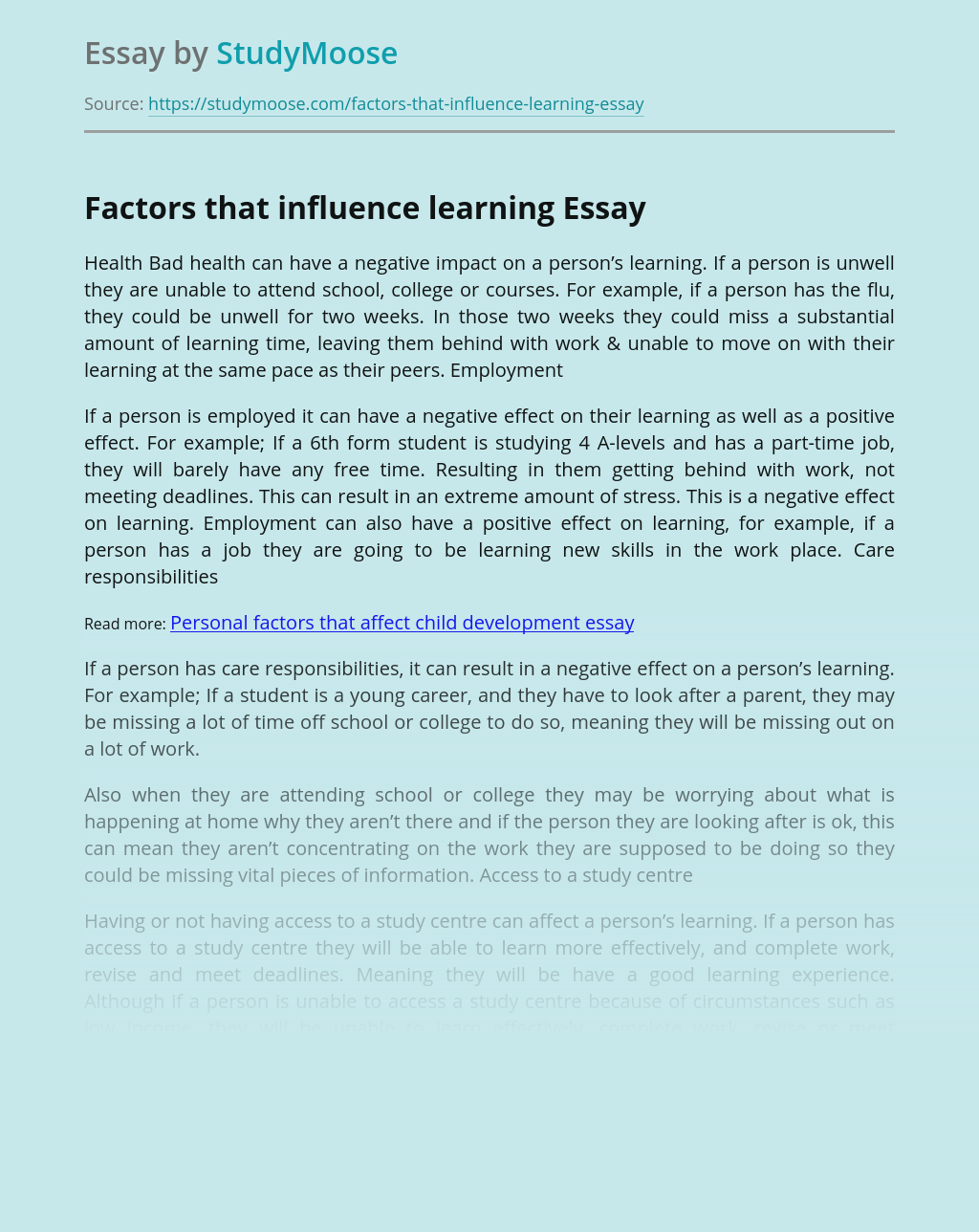 Factors that influence learning