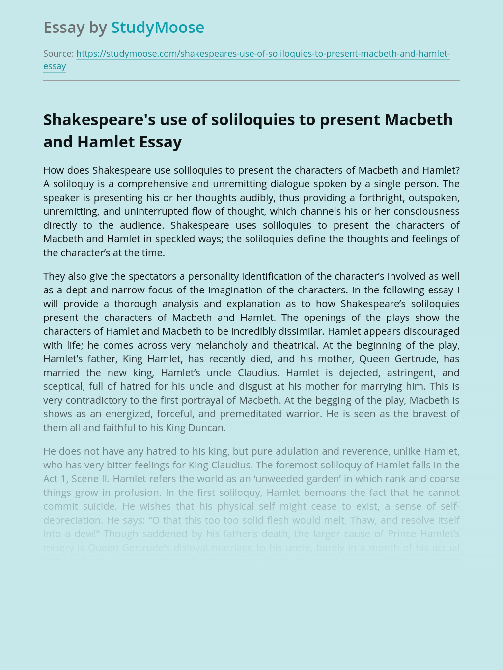 Shakespeare's use of soliloquies to present Macbeth and Hamlet