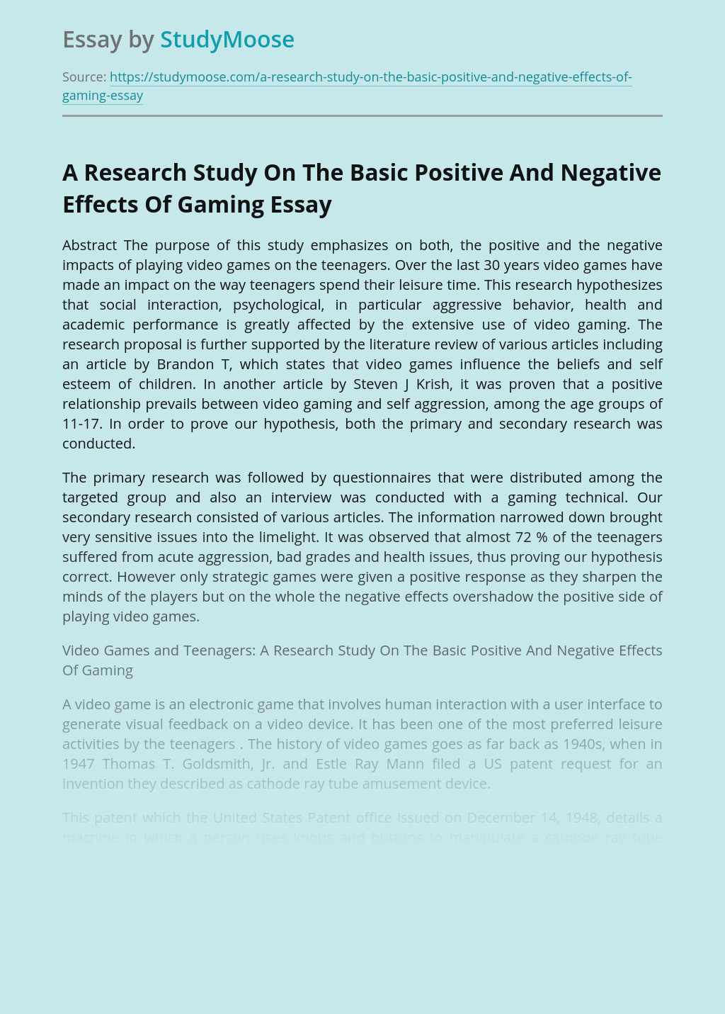 A Research Study On The Basic Positive And Negative Effects Of Gaming