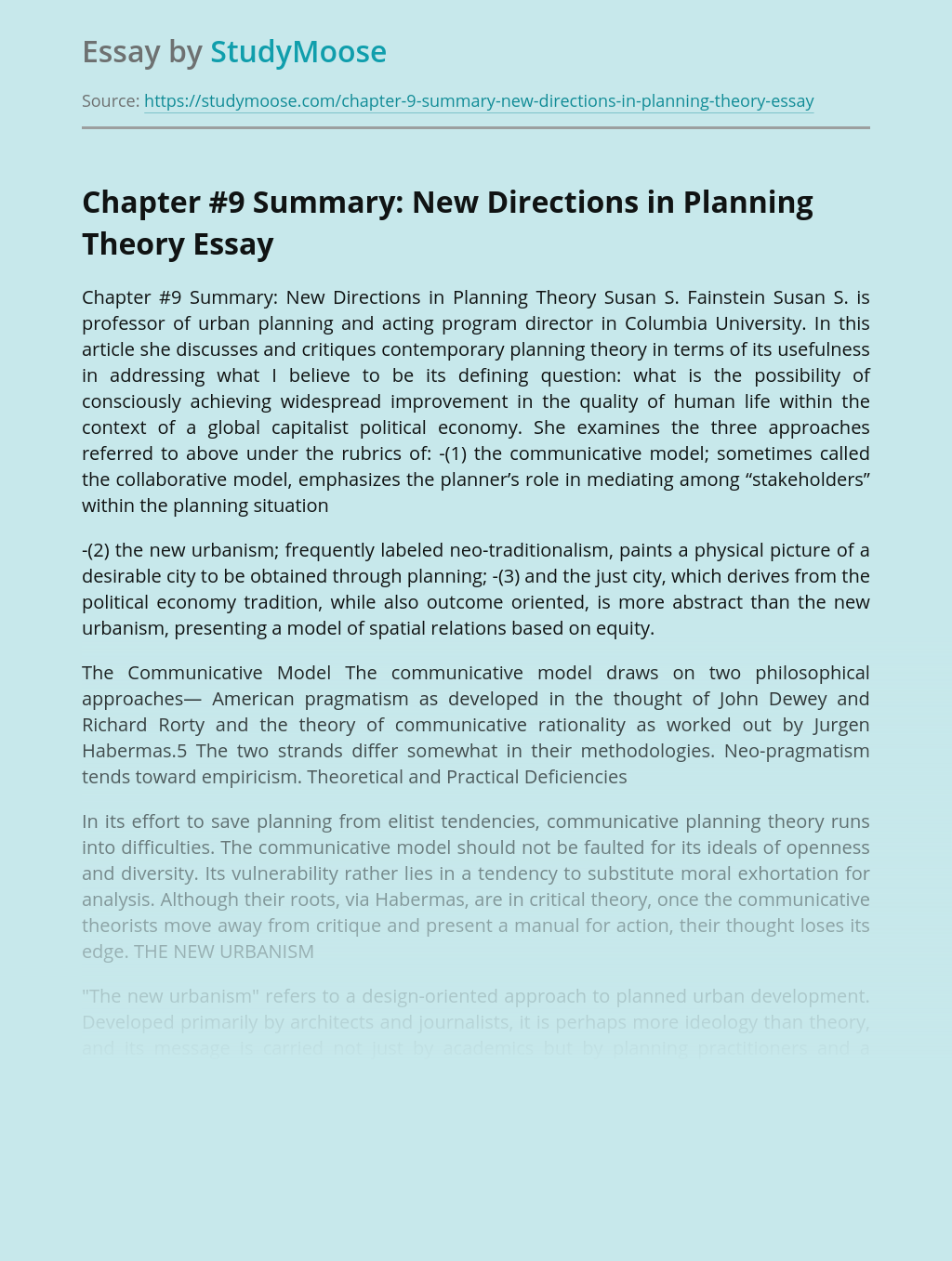 New Directions in Planning Theory