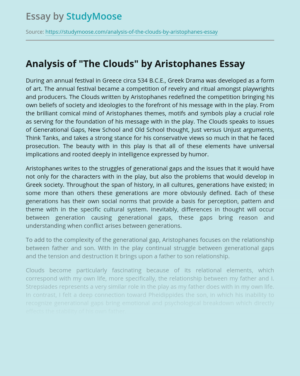 """Analysis of """"The Clouds"""" by Aristophanes"""