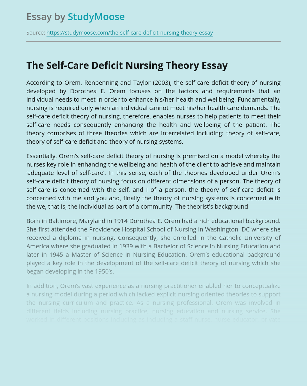 The Self-Care Deficit Nursing Theory
